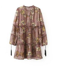 dearWYW Women's Fashion Bohemian Rope Long-Sleeved Flower Dress: Amazon Fashion