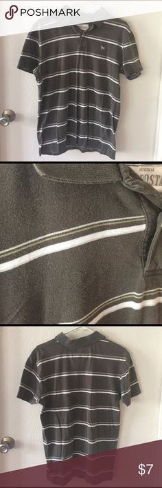 Priced to sell men's polo! Good used condition men's polo! See photos. No holes or tears! Gray with white and a small very light green stripes. Aeropostale Authentic Fit. Aeropostale Shirts Polos
