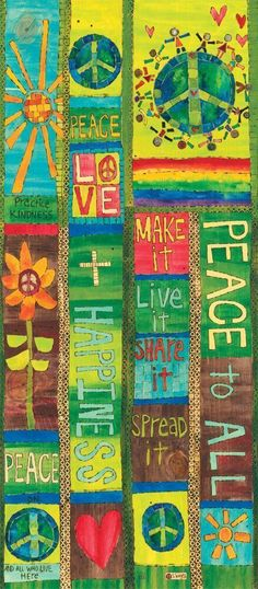 Peace and Love Art Pole - 3 Foot Painted Peace - the Art of Stephanie Burgess Peace Pole, Sorry Gifts, Mailbox Covers, Garden Poles, Outdoor Statues, Mosaic Diy, Beautiful Artwork, Garden Art, Garden Ideas