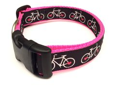Hot pink bicycle large dog collar by ruffthreadsAZ on Etsy