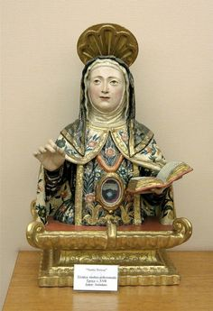 Saint Teresa of Avila, reliquary, Polychrom wood, 17th century, anonymous. Treasure of the cathedral of Guadix, Andalusia, Spain.