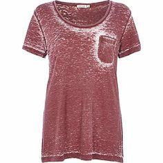 Dark red low scoop neck burnout t-shirt $30.00