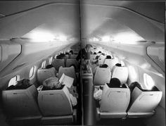 Early Air France Concorde cabin  from the 70s designed by Raymond Loewy