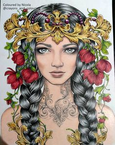 Coloring Tips, Adult Coloring, Colouring, Face Illustration, Arte Pop, Woman Drawing, Fantasy Women, Russian Art, Colorful Drawings
