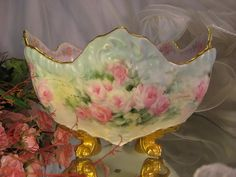 """Absolutely Precious"" Gorgeous Limoges France Antique French Roses LARGE FRUIT CENTER BOWL JARDINIERE ~ FERNER ~ PLANTER ~ Superb Mold ~ Footed Ornate Sculpted Mold ~ Hand Painted Pink Roses ~ T ~ Artist Signed ~ Circa 1900"