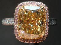 Halo Diamond Ring: 4.09ct Cushion Cut Fancy Brownish Yellow VS1 GIA Pink Diamond UBER Ring R3861