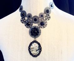 jewelry necklace cameo choker vintage victorian steampunk gothic antique black antique siver funky quirky women teens tweens girls trending by veronicarosedesigns on Etsy