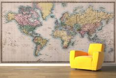 World of Mercator's Projection Map Mural