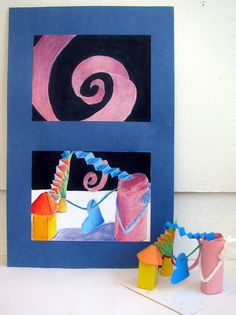 3-D & 2-D concepts. Students create paper sculpture as a group, and use viewfinder to draw interesting area.