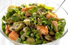 Add new potatoes and roasted artichoke hearts in this delicious salad.Get the recipe: Salmon and broad bean saladWhere to next? Back to the startBroad bean recipesSeasonal recipes Great Salad Recipes, Mexican Salad Recipes, Italian Salad Recipes, Shrimp Salad Recipes, Chopped Salad Recipes, Spinach Salad Recipes, Salad Recipes For Dinner, Fish Recipes, Nuts And Seeds Recipes