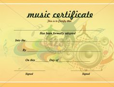 Use this Music Certificate Template to award the best performers of a music concert conducted by your college fine arts team or the band performed. Free Gift Certificate Template, Printable Certificates, Certificate Of Achievement, Certificate Design, Award Certificates, Resume Template Free, Templates Free, Design Templates, Award Template