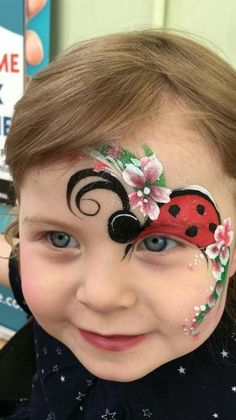 ladybug face painting. Half face painting.