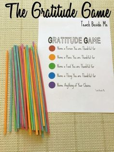 The Gratitude Game: Pick-Up Sticks The Gratitude Game is a fun family activity for Thanksgiving. Get kids thinking about all they are thankful for! via Karyn @ Teach Beside Me Thanksgiving game for kids Therapy Activities, Learning Activities, Kids Learning, Activities For Kids, Thanksgiving Activities, Counseling Activities, Activities About Family, Icebreaker Activities, Kids Thanksgiving