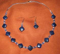 Persian Hand Made Lapis Lazuli and bead necklace and earring  jewelry set