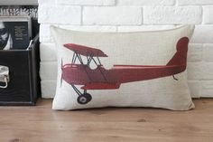Linen Pillow Cover Airplane/ Aircraft Pillow Decorative Throw Pillow Cushion Cover Home Decor 30x45cm
