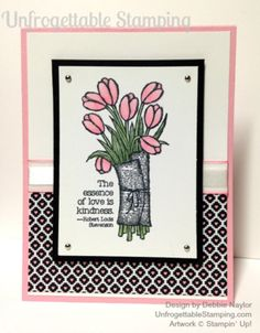 Unfrogettable Stamping | Fabulous Friday Love is Kindness card featuring Stacked with Love DSP and Blendabilities
