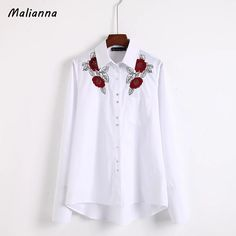 Spring Autumn Brief Women Fashion Floral Embroidery Long Sleeve Office Ladies White Blue Shirt Blouse Blusas Tops Femininas #Affiliate
