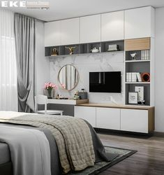 Designed & Visualized by EKE Team – Casa Alexis y Sandra – Centro Wardrobe Design Bedroom, Bedroom Bed Design, Home Room Design, Small Room Design, Bedroom Furniture Design, Modern Bedroom Design, Small Room Bedroom, Living Room Designs, Bedroom Decor