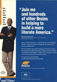 "In 1990, California Literacy Campaign partnered with the UCLA Alumni Association in ""Target: Literacy"" that sought to pair UCLA Alumni tutors with adult learners. Clicking the picture will take you to the history page of the UCLA Alumni Association."