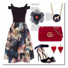 """Coast Lily Jacquard Midi Dress"" by ukdresslover ❤ liked on Polyvore featuring Gucci, Alexandre Birman, LogoArt and Alex Soldier"