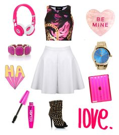 """""""Pink Pop Rock"""" by camcambarbie ❤ liked on Polyvore featuring mode, Topshop, Beats by Dr. Dre, Oasis, love, Pink, black en edgy"""