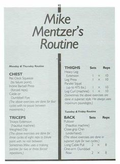 Mike Mentzer's Routine Page 1