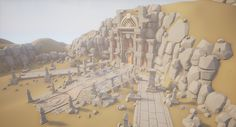 """Thought I'd share what I am currently working on. I had the """"fantasy-itch"""" again after I found this concept art https://www.artstation.com/artwork/Lgl15 which this scene is loosely based on. My other scene is currently on hold until I get a properly working machine. I was very inspired by the Sky Temple map from Heroes of the Storm and I am trying to build up on that style and put it into another perspective while keeping the essence of the concept art. I..."""