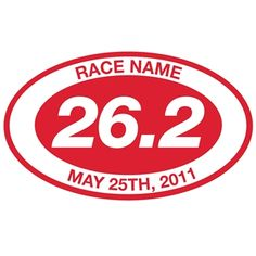 Custom 26.2 Oval Running Vinyl Decal - Red. Choose Color, Add Race and Date