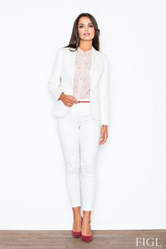 Women's blazer in shades of ecru Cigarette Trousers, White Outfits, Fashion Addict, Outfit Of The Day, White Jeans, Street Wear, Pants For Women, White Dress, Street Style
