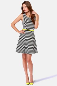 Today's Headlines Black and White Striped Dress at LuLus.com!