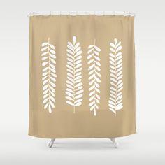 Fern Leaves Shower Curtain, botanical shower curtain, neutral bathroom shower curtains, foliage rustic bathroom decor