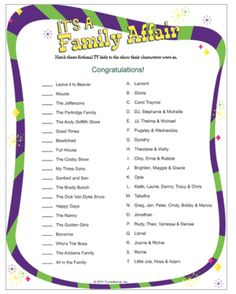 It's A Family Affair. Love retro? Try matching famous fictional TV children to theirTV series. Grandmas will rock this one! Baby shower game.
