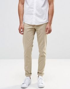 Pull&Bear Stretch Slim Fit Chinos In Beige £22.99 @ Asos