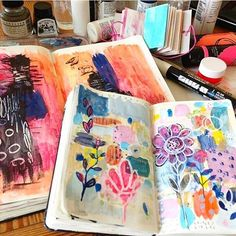 Love seeing glimpses of your projects and creative spaces!  @squiggleandswirl is pouring happy colors into her journals! Just what we need in the end of January!  Let's talk about our creative spaces. Team Neat or Team Messy? I am Team Messy all the way  #getmessyartjournal -@sasha_zeen