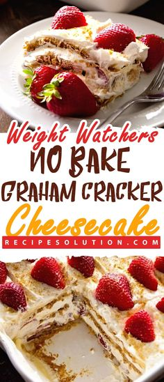 Weight Watchers No Bake Graham Cracker Cheesecake - Recipe Solution Gâteau au fromage Graham Watch sans cuisson de Weight Watchers - . Weight Watcher Desserts, Weight Watchers Snacks, Weight Watchers Kuchen, Weight Watchers Cheesecake, Weight Watcher Cookies, Weight Watchers Smart Points, Pudding Desserts, Ww Desserts, Dessert Recipes