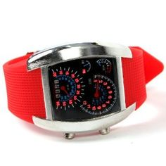 Shot-in Creative LED Watch Sector Sports Car Meter Dial Men Wrist Watch (Red) Price:	$10.99
