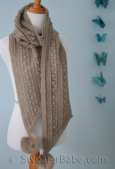 PDF Knitting Pattern for Bias Ribbon Scarf from SweaterBabe.com