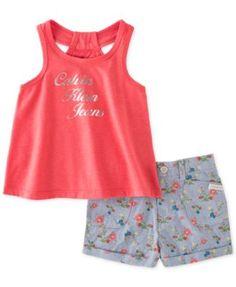 Calvin Klein Little Girls' or Toddler Girls' 2-Piece Logo Tank & Floral Chambray Shorts Set | macys.com
