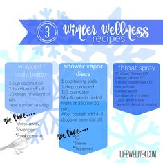 Winter Wellness DIY Recipe Body butter lotion, throat spray shower vapor discs . Natural healing using Young Living Essential Oils