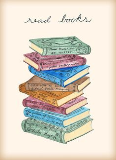 Read books art print by EpoqueGraphics on Etsy Stack Of Books, I Love Books, Books To Read, My Books, Reading Quotes, Book Quotes, Enough Book, Watercolor Books, Book Wallpaper