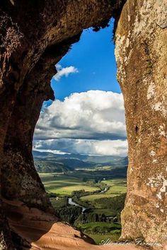 Essa é a visão da Fenda do Morro do Campestre em Urubici - SC