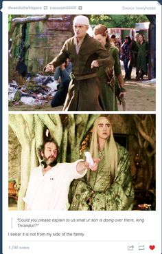 Thranduil: um, that's his mother's side showing. Legolas: Dad, I'm pretending I have a motorcycle, okay?<<<hahaha it's almost like tauriel is riding behind Legolas on the motorcycle. Memes Humor, Legolas And Thranduil, Thranduil Funny, Tauriel, O Hobbit, Hobbit Funny, J. R. R. Tolkien, Into The West, Middle Earth