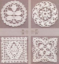 모티브도안100/ 코바늘 모티브뜨기 4 Crochet Motif Patterns, Crochet Chart, Crochet Squares, Granny Squares, Crochet Dolls, Crochet Lace, Doilies, Embroidery, Knitting