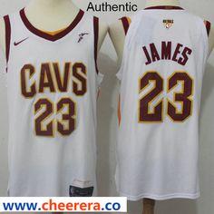 fcc41339c2e Nike Cavaliers  23 LeBron James White The Finals Patch NBA Authentic  Association Edition Jersey Nba