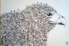 eagle mural kerby rosanes Doodle Coloring pages colouring adult detailed advanced printable Kleuren voor volwassenen coloriage pour adulte anti-stress kleurplaat voor volwassenen Line Art Black and White