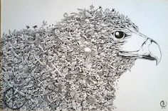 eagle mural kerby rosanes Doodle Coloring pages colouring adult detailed advanced printable Kleuren voor volwassenen coloriage pour adulte anti-stress kleurplaat voor volwassenen Line Art Black and White
