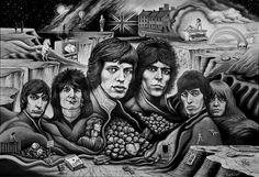 """The Rolling Stones    'Was it only Rock 'n' Roll?'    SongScape Poster!    Featuring a SongScape of clues to 30 song titles in images from the   """"The Greatest Rock and Roll Band in the World"""" - The Rolling Stones.     Mick Jagger, Keith Richards, Charlie Watts & Ronnie Wood together with original band members Brian Jones and Bill Wyman and former guitarist Mick Taylor are all here in this tribute to British Rock Royalty. - Buy this Poster Now!   It's just a click away @ OffbeatMusic"""