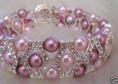 Pink Bridal 27 Color Choices 18KGP Rhinestone Swarovski Pearl Bracelet 6mm, Bride, Bridesmaids, Flower girl, maid of honour, bridal party. $34.80, via Etsy.