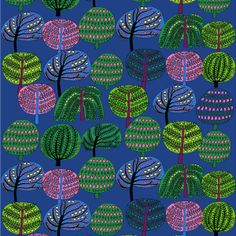 Marimekko Isoisän Puutarha Blue Fabric Blossoming branches and vibrant colors define the playful print on the Marimekko Isoisän Puutarha Blue Fabric. Trees bearing a variety of fruits and flowers are engulfed in different shapes, each poppi. Design Textile, Textile Patterns, Fabric Design, Pattern Design, Print Design, Pretty Patterns, Color Patterns, Art Patterns, Textiles