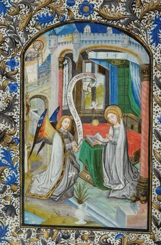 Book of Hours, MS H.7 fol. 35v - Virgin Mary: Annunciation -- Archangel Gabriel, with right hand holding scroll inscribed AVE GRACIA PLENA DOMINUS TECUM from Luke 1:28, kneels and with left hand holds scepter, before Virgin Mary, nimbed, kneeling beneath canopy